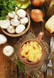 Cocotte with mushroom and chicken Stock Photos