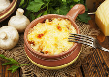 Cocotte with mushroom and chicken Royalty Free Stock Images