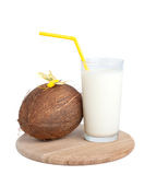 Coctail. Coconut and milk, isolated on white Stock Photos