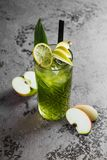 Coctail with apple and lime. royalty free stock photos