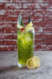 Coctail with apple and lime. stock photos