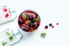 Coctail av bär som frysas i för björnbär, röda och svarta för iskuber vinbär för hallon, Kall uppfriskande drink för sommar Royaltyfria Foton