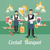 Coctail Banquet Concept. Vector Flat Illustration. Coctail Banquet Concept. Alcohol Drink on Tray from Professional Staff. Catering Service Set. Banquet Event stock illustration