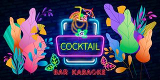 Coctail Bar neon logo design. Isolated on black background. Retro vintage neon sign. Design element for your ad, signs, posters, b. Anners. Vector illustration stock illustration