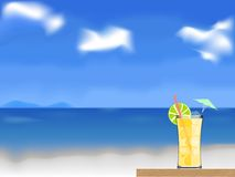 Coctail on the beach vector Royalty Free Stock Photo