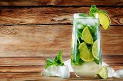 Coctail de Mojito com as folhas de hortelã fresca e a fatia do cal Imagem de Stock Royalty Free