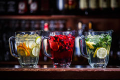 Coctail drink in jugs Royalty Free Stock Photography