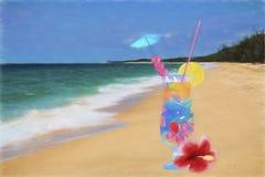 Coctail exótico en la playa ilustración del vector