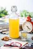 Coctail in glazig fles en glas royalty-vrije stock afbeeldingen