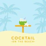 Coctail i kokosnöt och stångtabell på en gömma i handflatankonturbackgroun vektor illustrationer