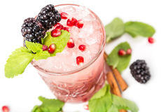 Coctail with ice, berrys and mint. Coctail with ice, berrys and leaf mint Royalty Free Stock Photos