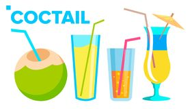Coctail Icons Set Vector. Summer Alcoholic Drink. Holiday Beach Party Menu. Isolated Flat Cartoon Illustration stock illustration