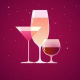 Coctail, konjak och vin Arkivfoto