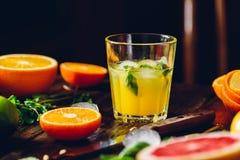 Coctail med citrus fruktsaft royaltyfri fotografi