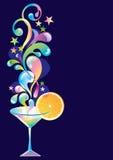 Coctail med orangen och färgstänk Royaltyfri Foto