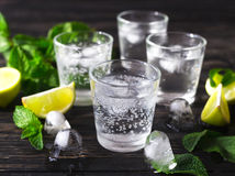 Coctail med sodavattenvatten, is, limefrukt och mintkaramellen Royaltyfria Bilder