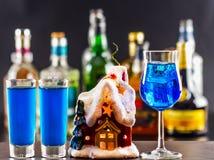 Coctail och härlig jul inhyser, undersöker, buteljerar bakgrund Arkivbild
