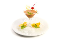 Coctail Pinacolada in bowl glass. Coctail Pinacolada with fresh pina juice on a white background Stock Photos