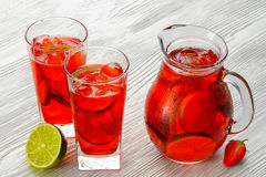 Coctail. Refreshing summer drink with Strawberry Royalty Free Stock Photography