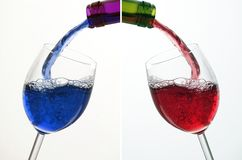 Coctail & Wine. Two different Colour of Liquid in Wine Glass Stock Photos