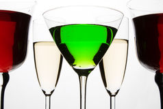 Coctail and wine glasses Stock Image