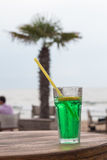 Coctail on wooden table. Beach Stock Photos