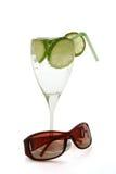 Coctail y sol-ojo-vidrios Fotografía de archivo