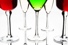 Coctail y vidrios de vino Foto de archivo