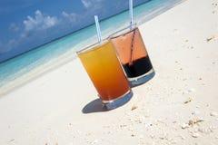 Coctailar i Maldiverna Arkivbild