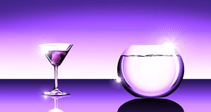 coctailfishbowlexponeringsglas stock illustrationer