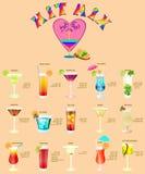 Coctailmeny, som består av populära drinkar Royaltyfria Foton