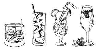 Coctails e grupo do vetor das bebidas ilustração do vetor