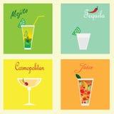 Собрание с 4 coctails: mohito, текила, космополитическое и сок Стоковое фото RF
