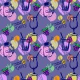 Coctails-Muster auf purpurrotem Hintergrund Lizenzfreie Stockfotografie