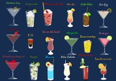 Coctails set. Set of different kind of coctails and drinks Royalty Free Stock Images