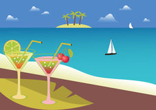 Coctails on tropical beach. Stock Photography