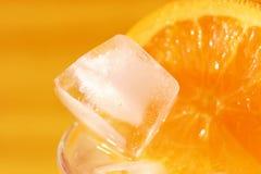 Coctel anaranjado con un hielo Fotos de archivo libres de regalías