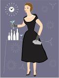 Coctel de consumición de la mujer en el partido Foto de archivo