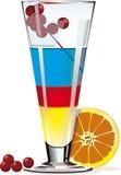 Coctel en vidrio con la naranja y las bayas Ilustración del Vector