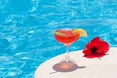 Coctel por la piscina Imagen de archivo libre de regalías