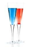 Coctel rojo y azul del alcohol de Champán Fotografía de archivo
