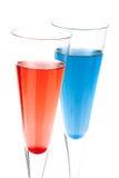 Coctel rojo y azul del alcohol de Champán Imagen de archivo libre de regalías
