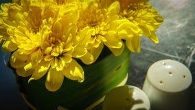 Coctelera amarilla de la pimienta de la flor y coctelera de sal en la tabla Imagen de archivo