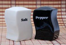 Coctelera de sal blancos y negros y de pimienta Imágenes de archivo libres de regalías