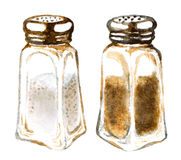 Coctelera de sal y de pimienta de la acuarela Imagen de archivo libre de regalías