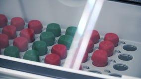 Coctelera del laboratorio cargada con las sustancias clip Sustancias en frascos en una coctelera para el experimento almacen de video