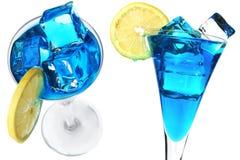 Cocteles azules imagen de archivo