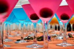 Cocteles azules y rosados Imágenes de archivo libres de regalías
