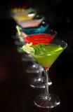 Cocteles en los vidrios de martini Imagen de archivo libre de regalías