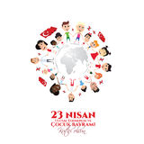 Cocuk baryrami 23 nisan. Vector illustration of the cocuk baryrami 23 nisan , translation: Turkish April 23 National Sovereignty and Children`s Day, graphic Stock Photos